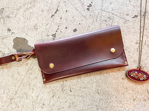 Leather Hand Stitched Clutch