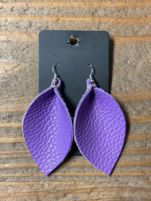 Purple Haze Leather Leaf Earrings
