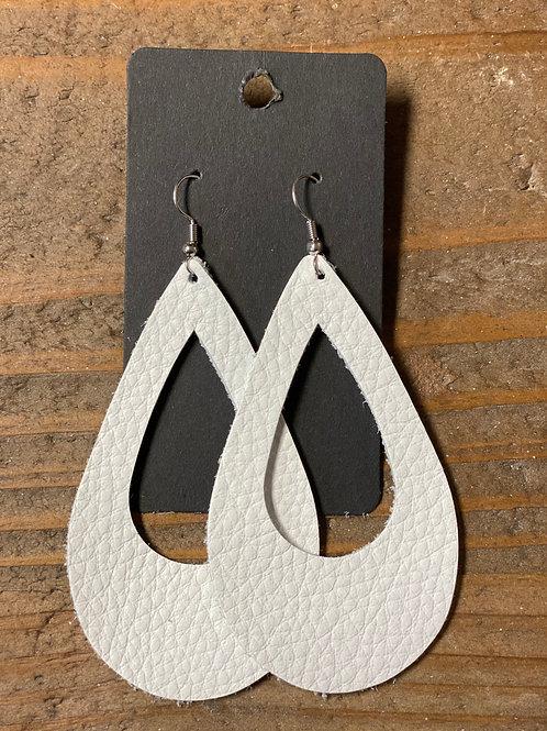 White XL Tear Drop Leather Earrings
