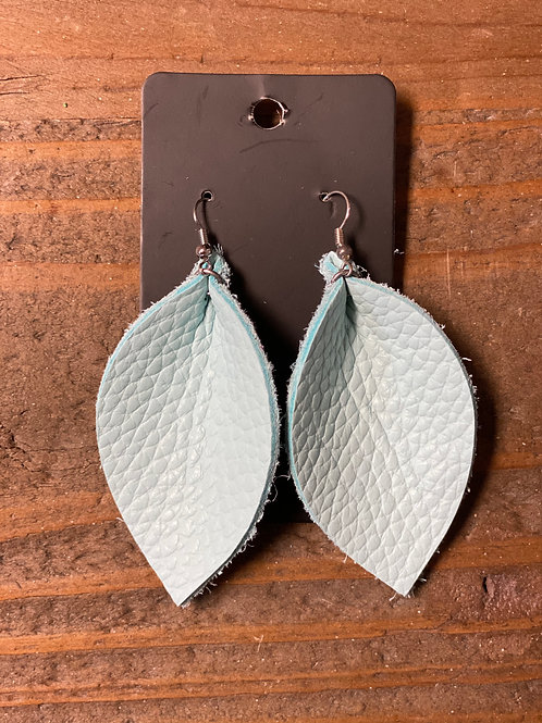 Barely Blue Leather Leaf Earrings
