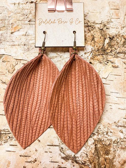 Weaved Brown Leather Leaf Earrings