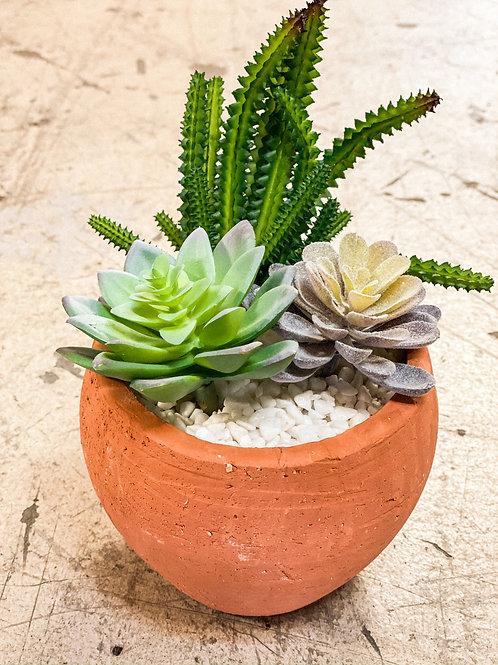 Bowl Shaped Terra Cotta Faux Plants