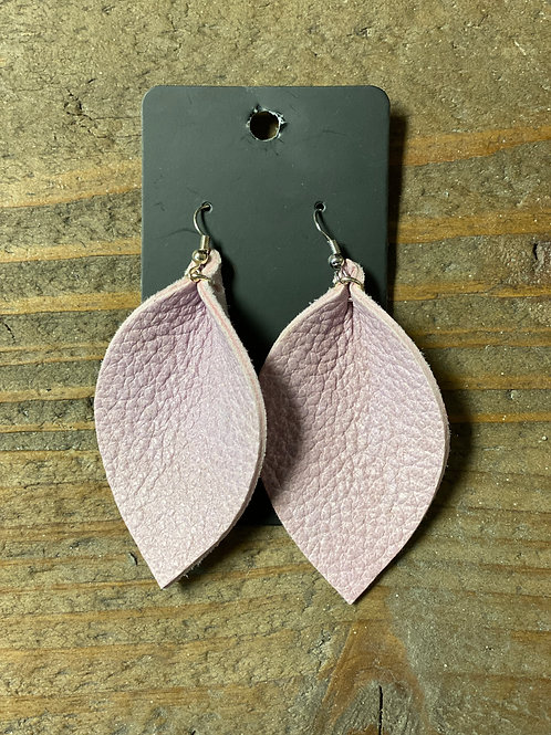 Pale Pink Leather Leaf Earrings