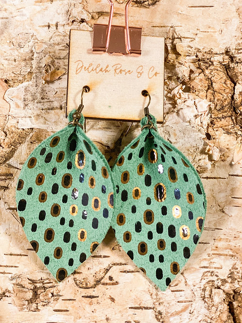 Precious Mint Leather Leaf Earrings