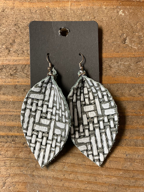 Embossed Light Leather Leaf Earrings