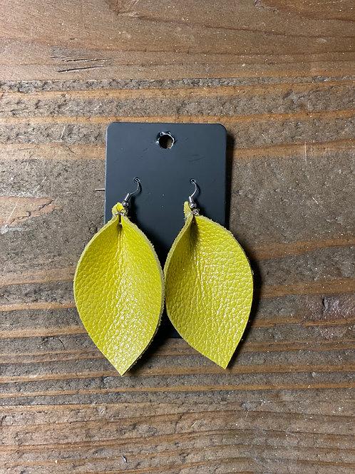 Sunshine Shimmer Leather Leaf Earrings