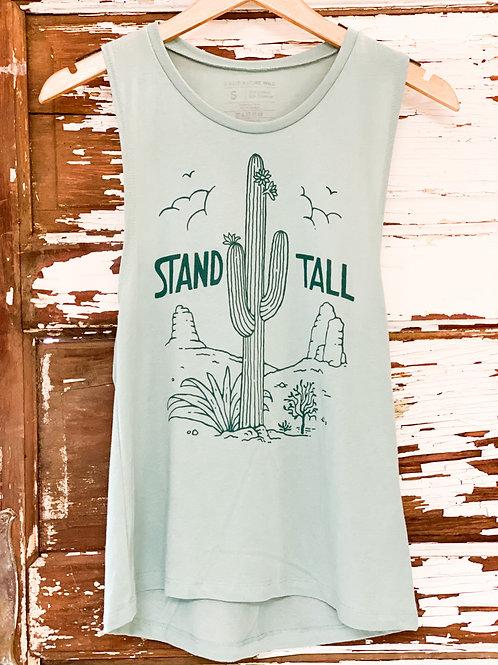 Aqua Stand Tall Cactus Muscle Tank