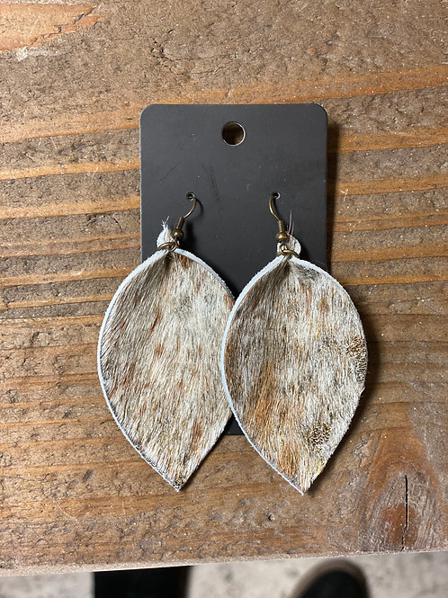 Wolf Hide Leather Leaf Earrings