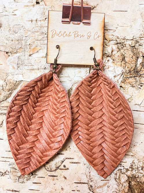 Basket Weave Leather Leaf Earrings