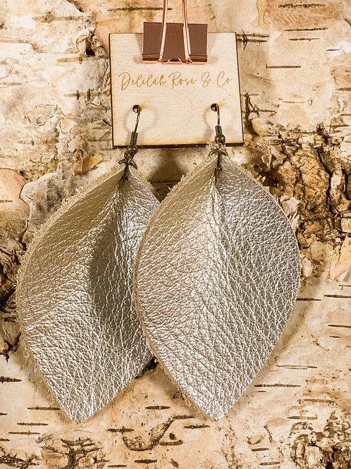 Shimmer Gray Leather Leaf Earrings