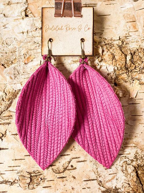 Weaved Rose Pink Leather Leaf Earrings