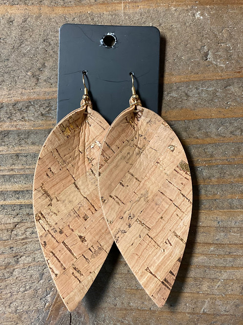 Light Scraped XL Leather Leaf Earrings