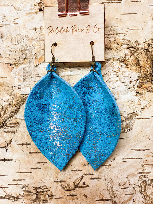 Shimmers of Blue Leather Leaf Earrings