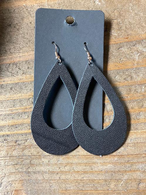 Black Tear Drop Leather Earrings