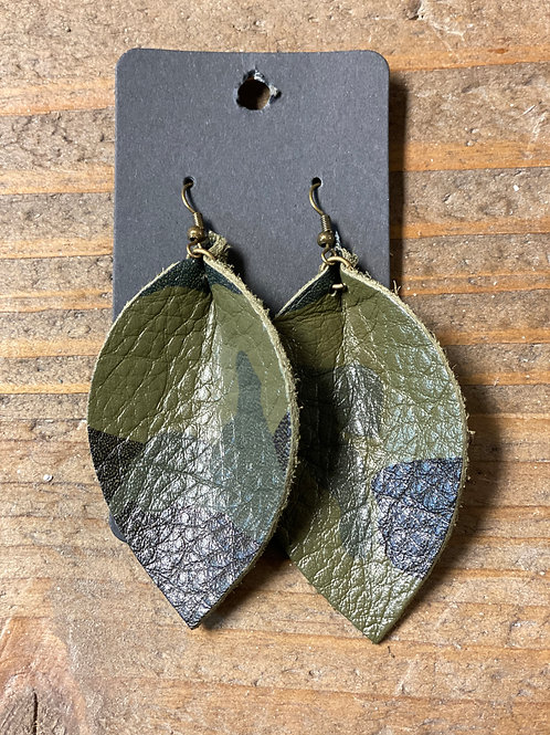 Camo Leather Leaf Earrings