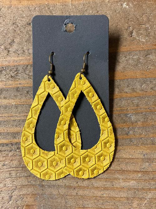Yellow Embossed Tear Drop Earrings