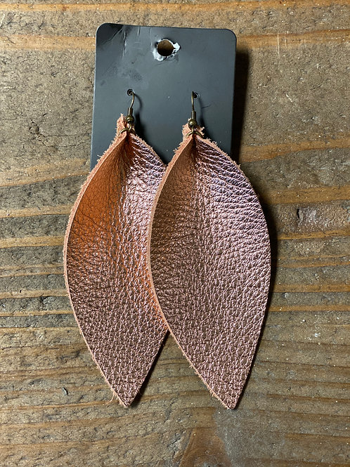 Rose Gold XL Leather Leaf Earrings