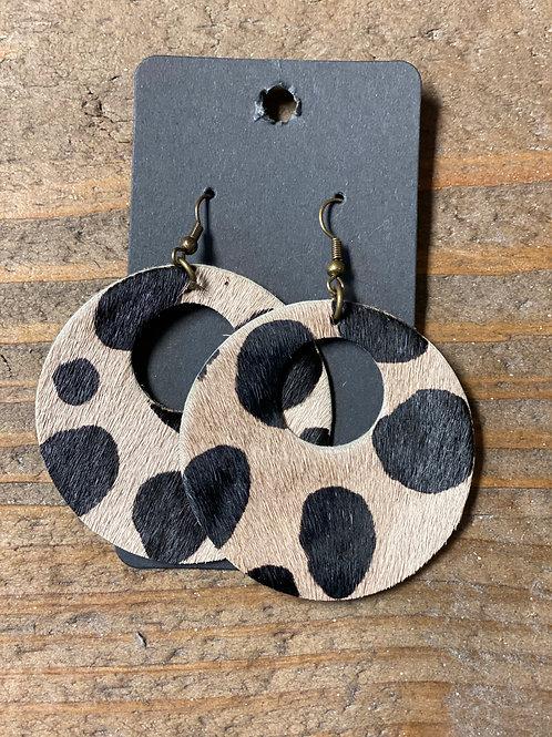 Light Animal Print Disk Leather Earrings