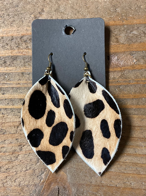 Animal Print Leather Leaf Earrings