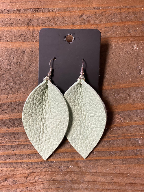 Hint of Mint Leather Leaf Earrings