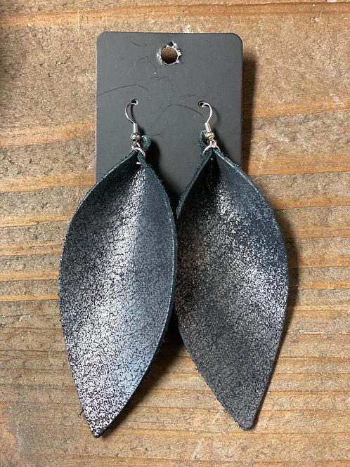 Dark Sheen XL Leather Leaf Earrings