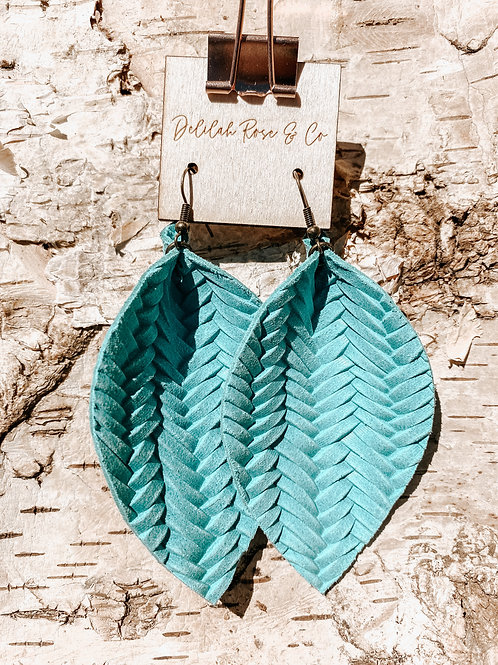Basket Weave Aqua Leather Leaf Earrings
