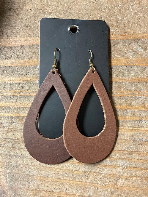 Brown Tear Drop Leather Earrings