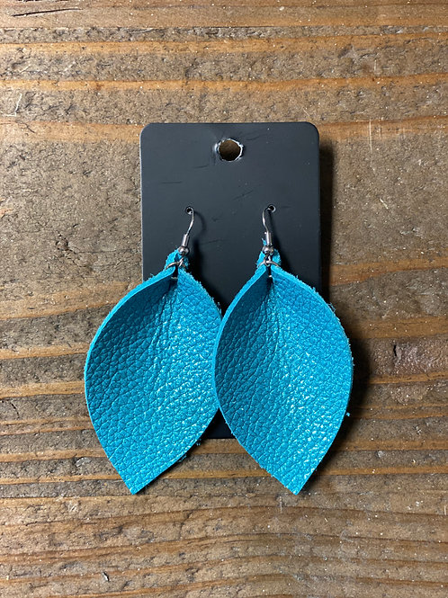 Blue Turquoise Leather Leaf Earrings