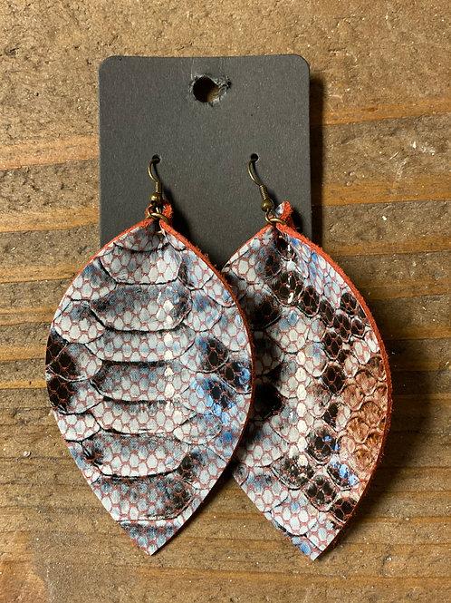 Scaled Leather Leaf Earrings
