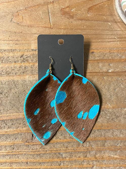 Teal Spotted Hide Leather Leaf Earrings