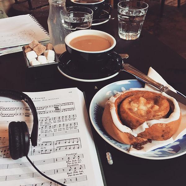Mozart coffe cake music headphones book