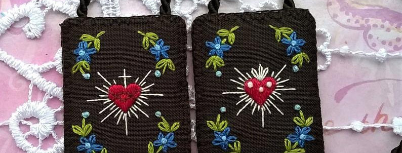 """hand embroidered Brown Scapular (1.9"""" x 1.5"""" Panels)"""