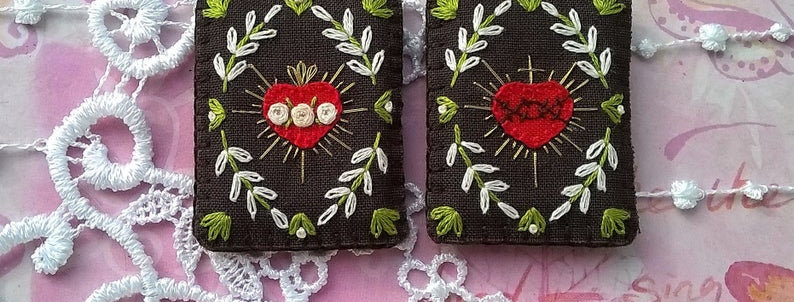 "hand embroidered Brown Scapular (1.9"" x 1.5"" Panels)"