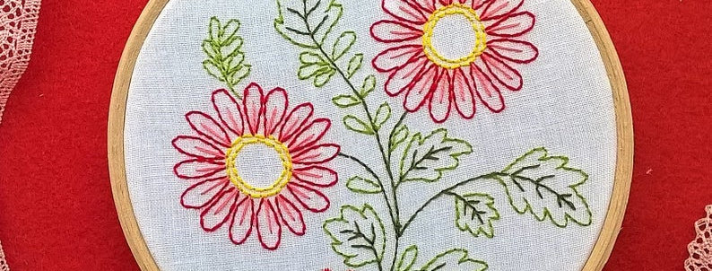 kit de broderie traditionnelle - Marguerites 1 blanche