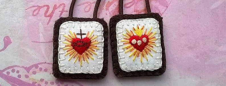 "hand embroidered Brown Scapular ( 1"" x 0.8"" Panels)"
