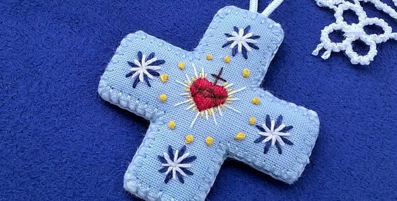 Médaille de berceau croix - cadeau de baptême - Médaillon Sacré Coeur de Jésu