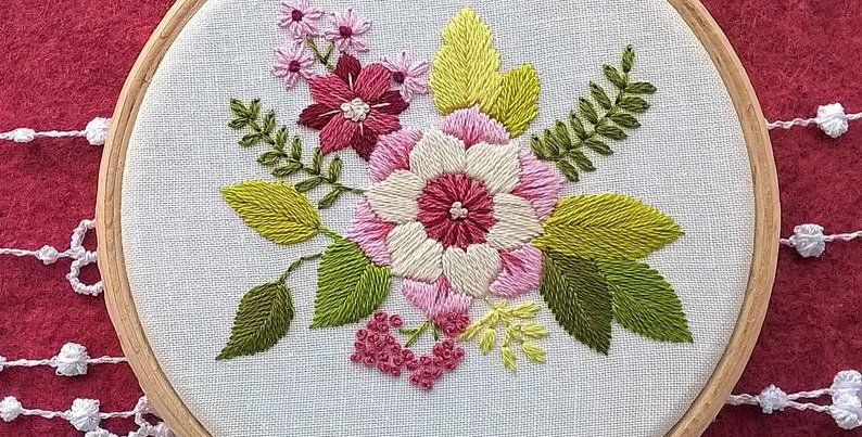 Hand embroidery kit  - pink flower