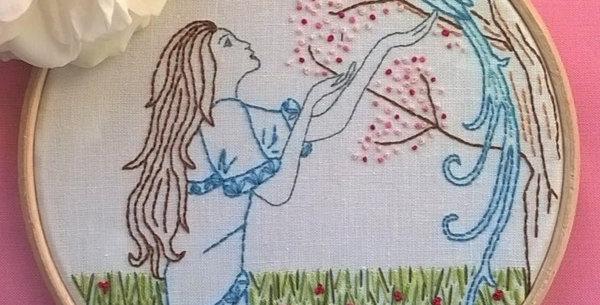 kit de broderie traditionnelle - La jeune fille et l'oiseau