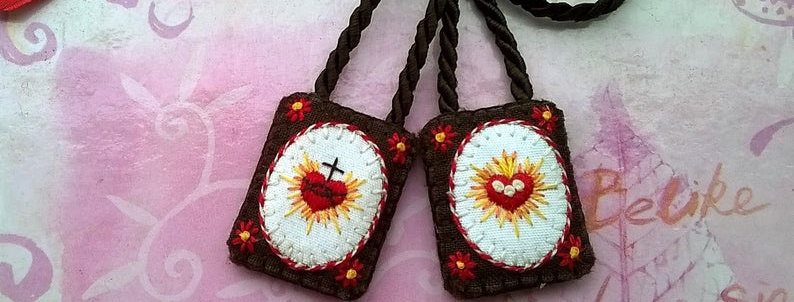 "hand embroidered Brown Scapular ( 0.9"" x 1.2"" Panels)"
