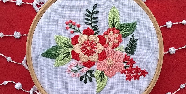 Hand embroidery kit  - red flower