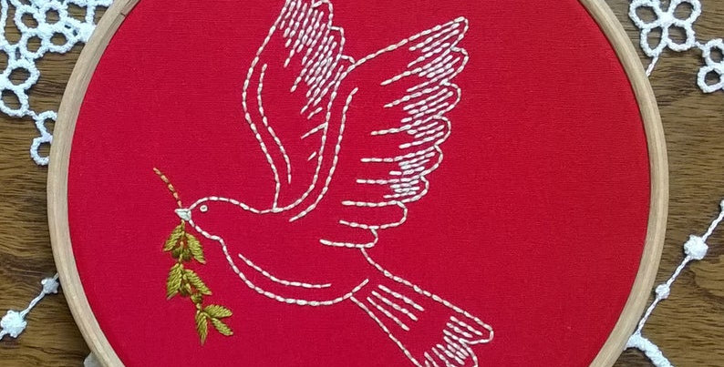 hand embroidery kit  - red peace dove