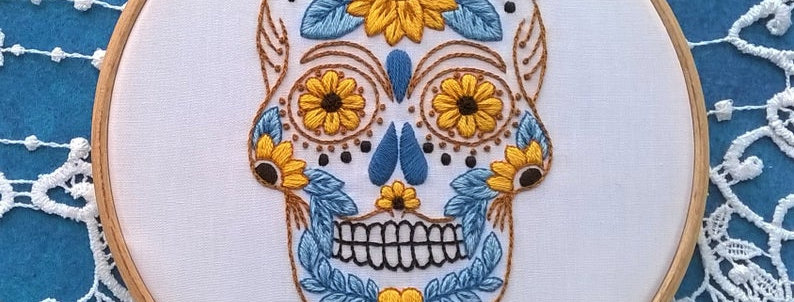 hand embroidery kit - skull sunflower