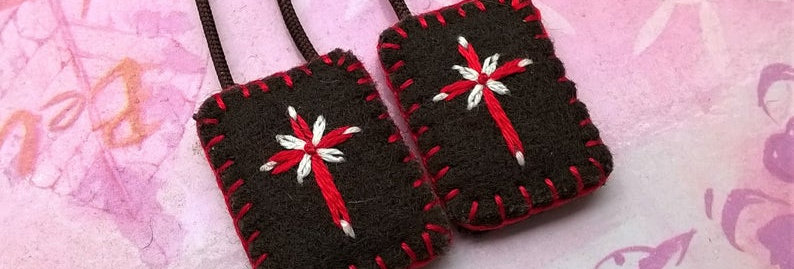 """hand embroidered brown Scapular (0.8"""" x 1"""" Panels)"""