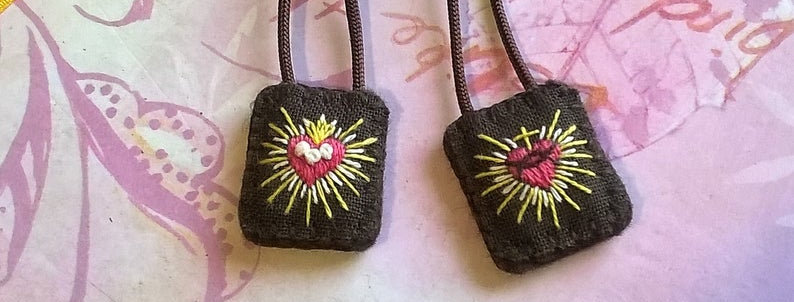"""hand embroidered Brown Scapular (0.6"""" x 0.8"""" Panels)"""