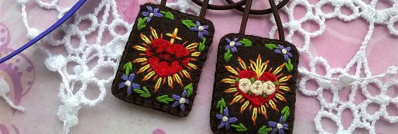 "hand embroidered Brown Scapular (0.9"" x 1.1"" Panels)"