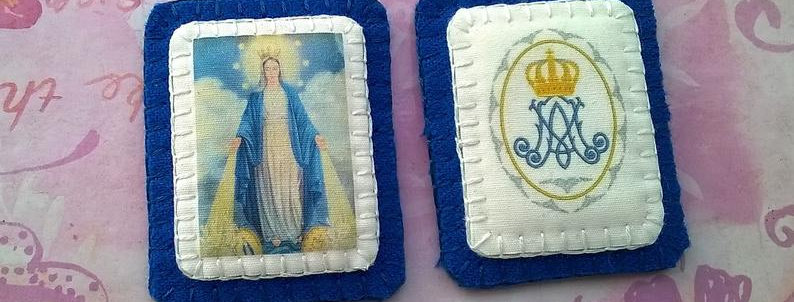 Blue Scapular of the Immaculate Conception, Hand-sewn wool scapular