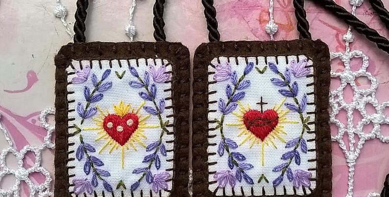 """hand embroidered Brown Scapular (2"""" x 1.7"""" Panels)"""