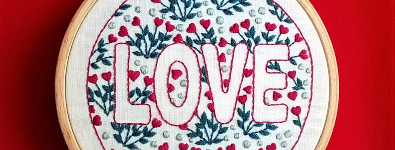 """hand embroidery kit - """"love"""""""