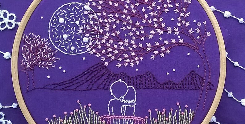"Kit de broderie traditionnelle ""Loving Moonlight""sur toile violette"