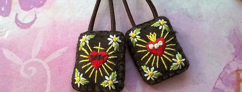 "hand embroidered Brown Scapular (0.6"" x 0.8"" Panels)"